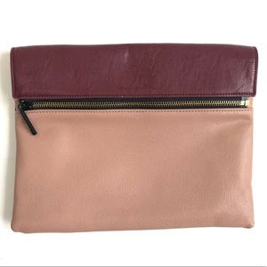 French Connection multi color zipper clutch